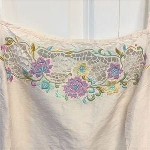 Cache Tops - Cache Tank Top Size 12 Embroidered Floral